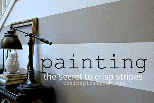 how to paint stripes the secret to crisp stripes the inspired room. Black Bedroom Furniture Sets. Home Design Ideas