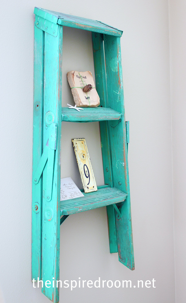 An Old Ladder Turned Wall Display Shelf The Inspired Room