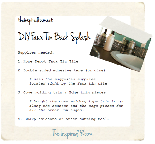 faux tin backsplash supplies