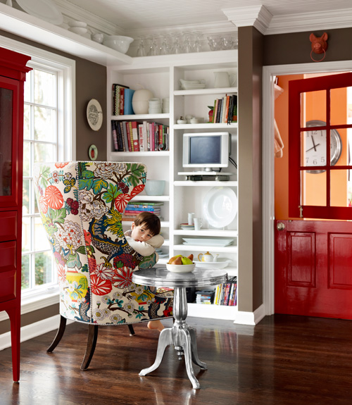 house beautiful entry red doors patterned chair