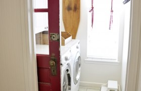 laundry room makeover sliding door