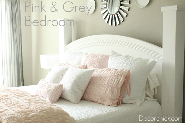 Room decorating before and after makeovers for Pink grey and white bedroom ideas