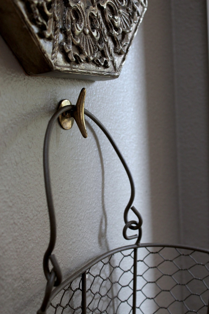 wire basket on wall
