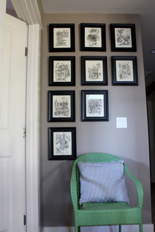 black and white gallery wall sketches