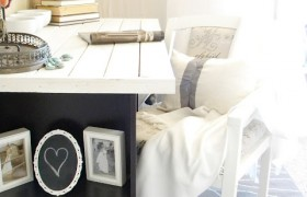 black and white office desk diy