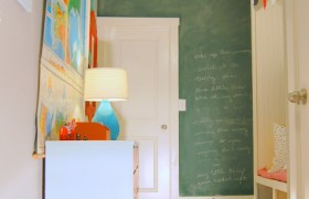 Cherry Mudroom Storage Chalkboard