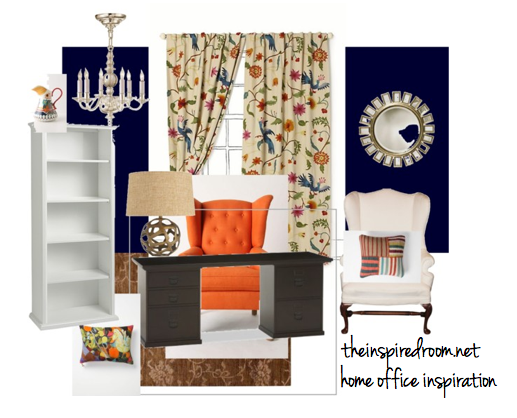 home office inspiration anthro curtains navy walls