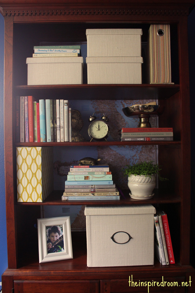 Lighten Up A Dark Bookcase - without paint! {Home Office Makeover ...