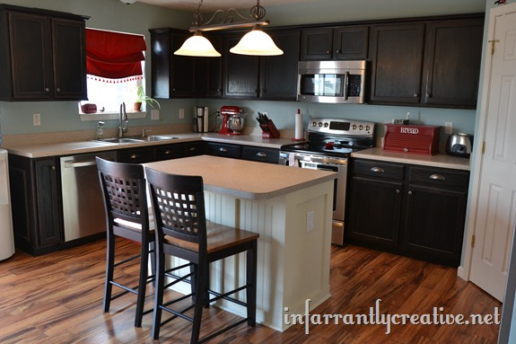 board and batten and beachboard kitchen island makeover