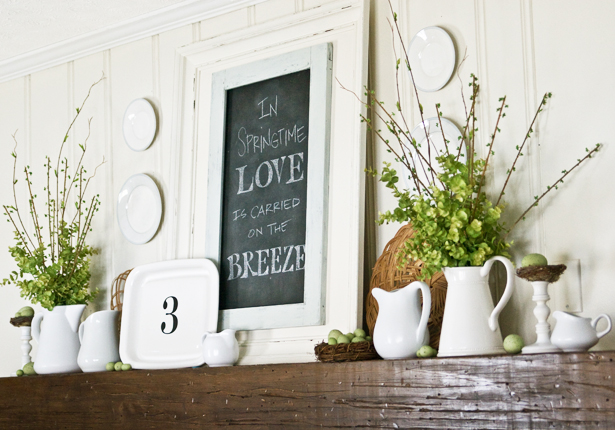 lettered cottage spring quote mantle