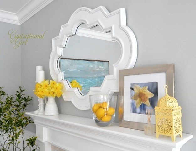 Centsational Girl Spring Mantle Decorating idea
