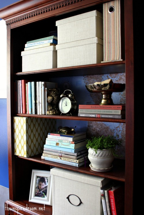 Lighten Up A Dark Bookcase -- without paint! {Home Office Makeover}