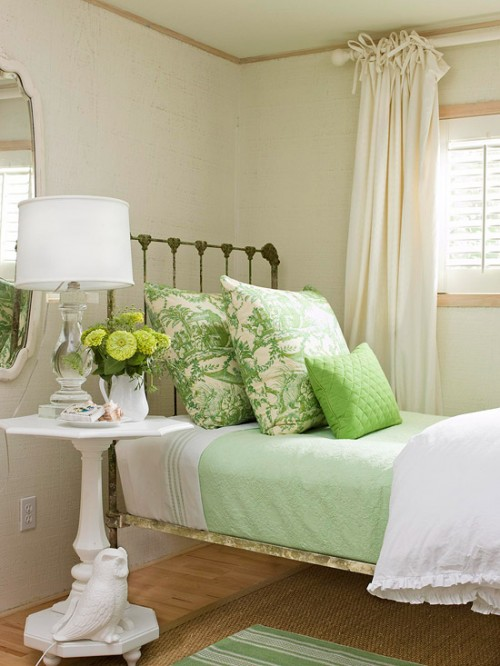bhg decorating layered mint bedding