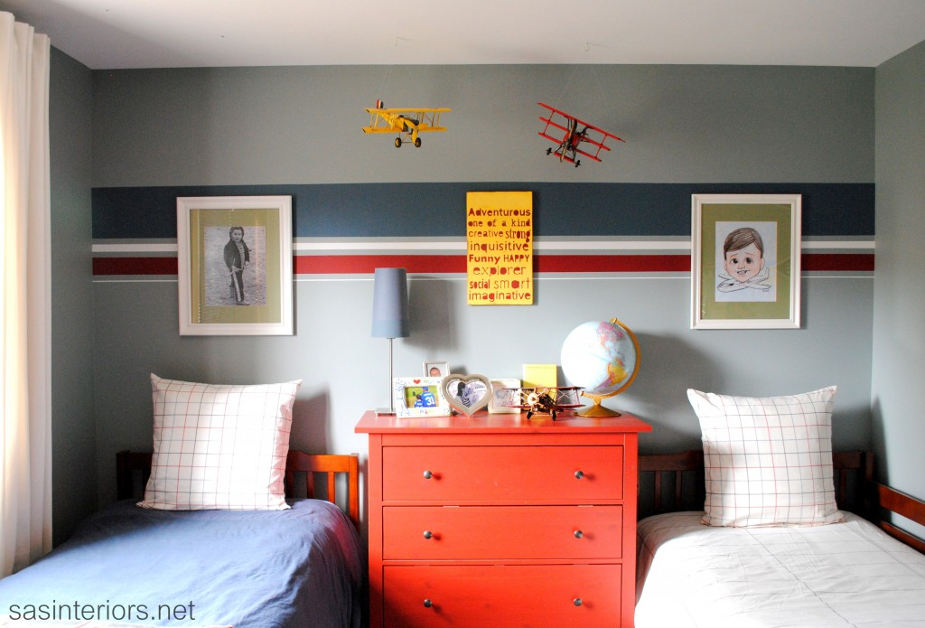Boy's Bedroom with Twin Beds and Orange Accents {SAS Interiors}