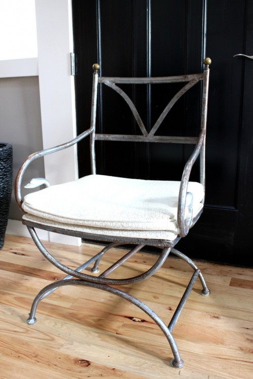 Thrift Store Antique French Iron Garden Chair {Home Office Makeover}