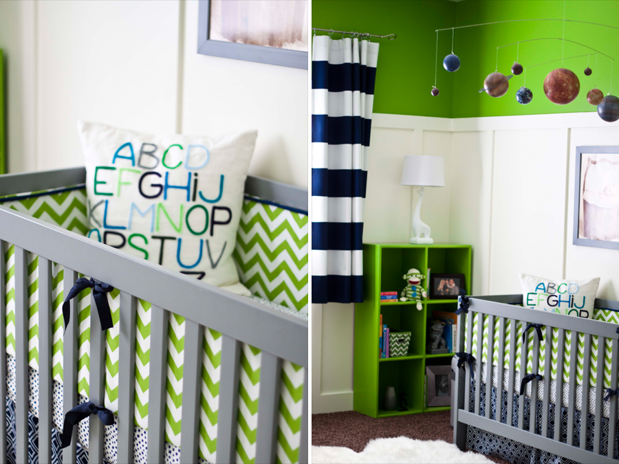 Navy and green baby nursery
