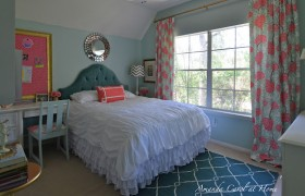 pink and teal little girl bedroom