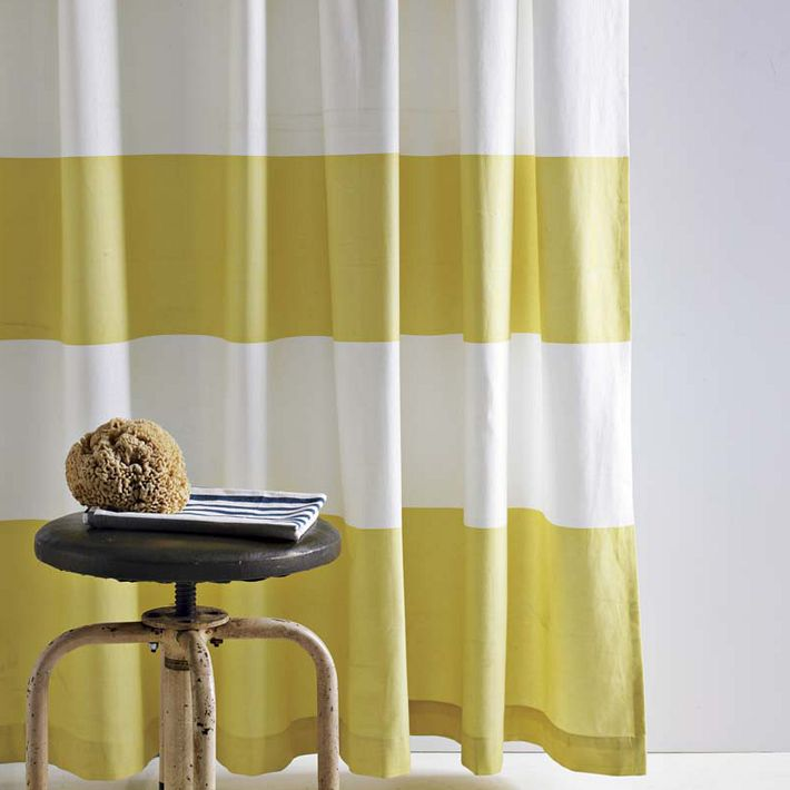 How To Sew A Shower Curtain Yellow and Gray Striped Curtains