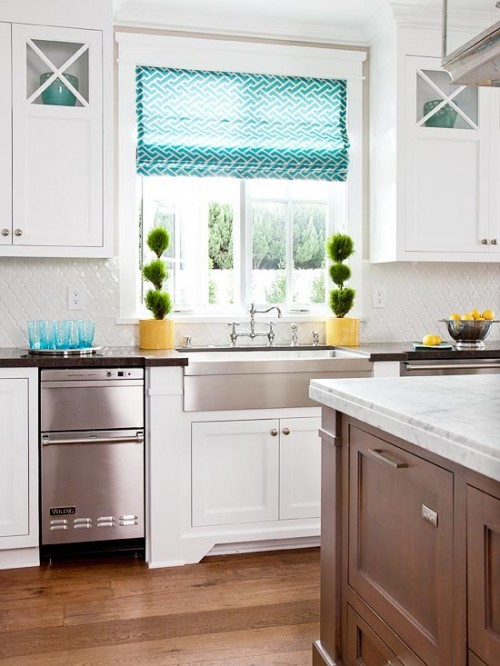 How My Mind Wanders {Yellow, Turquoise & White Kitchen} & A Barn Styl