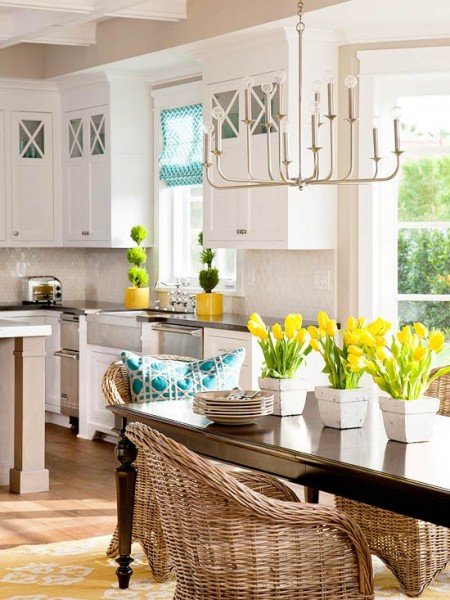 white yellow teal kitchen Better Homes Gardens OK so check this out