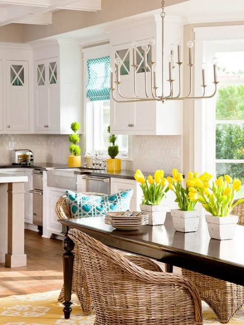 How My Mind Wanders Yellow Turquoise White Kitchen