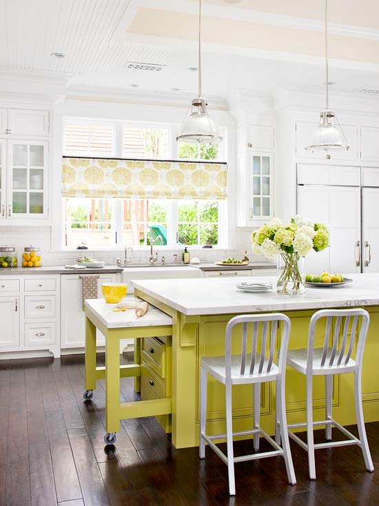 Yellow kitchen islands for Better homes and gardens kitchen island ideas