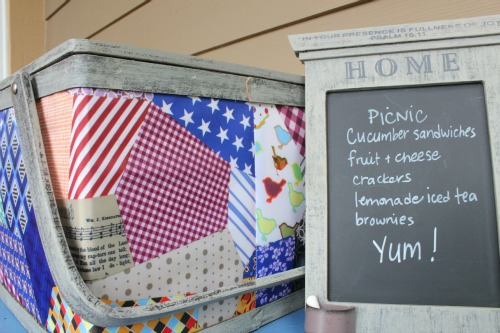 front porch decor summer picnic basket