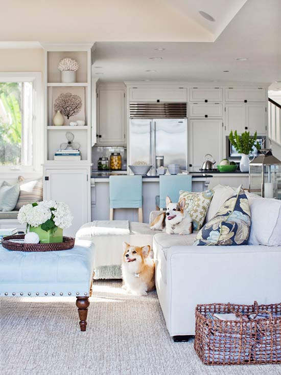 I want to live by the sea coastal inspired style the Better homes and gardens living room ideas