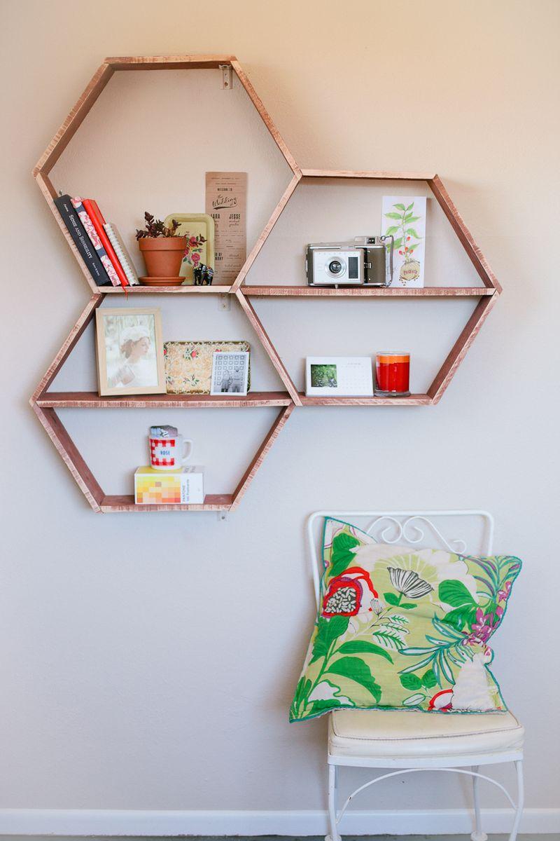 DIY Honeycomb Shelves {A Beautiful Mess}