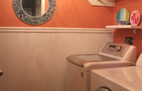 orange laundry room makeover