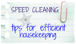 speed cleaning housekeeping tips