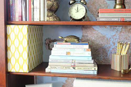 stack of books bookshelf styling