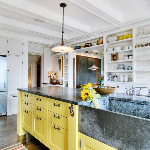 yellow kitchen islands