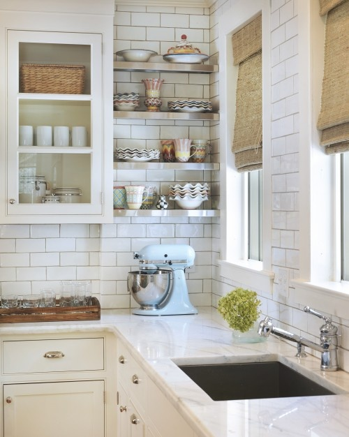 Captivating {Kitchens} Subway Tiled Walls U0026 Two Toned Cabinets