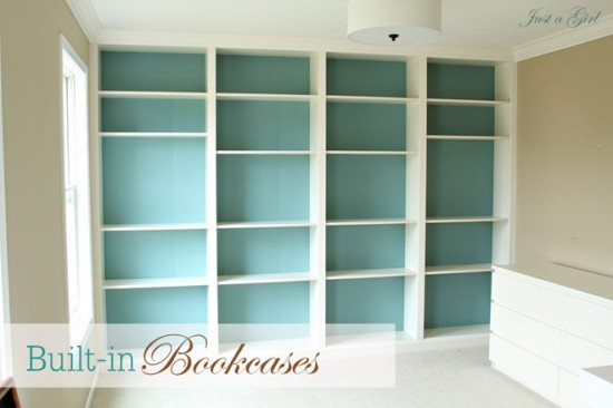 Built In Bookcases {DIY Ikea Billy Bookshelves}