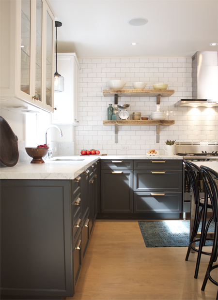 kitchen dark gray lower cabinets white subway tile