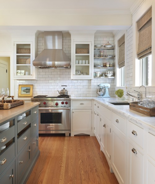 {Kitchens} Subway Tiled Walls U0026 Two Toned Cabinets