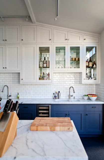 {Kitchens} Subway Tiled Walls & Two-Toned Cabinets