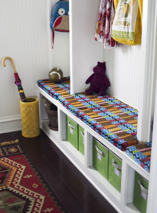 Bright and Colorful Mudroom {Prudent Baby}