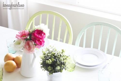 Fresh Green & Aqua Dining Room Makeover {Honeybear Lane}