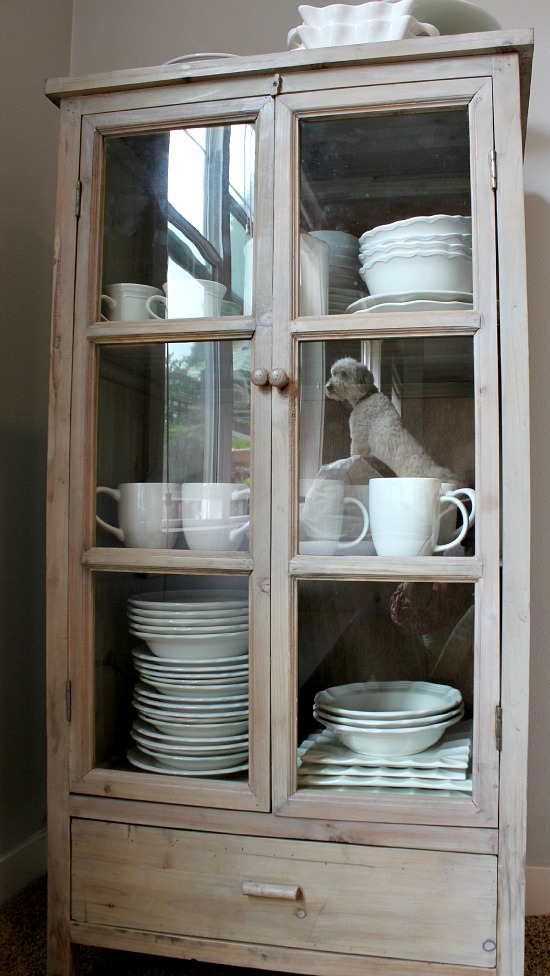 Storage for Extra Dishes {New Freestanding Glass Door Cabinet!}
