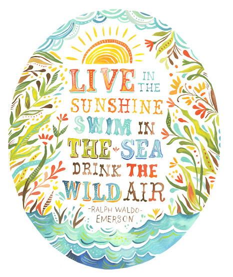 live in the sunshine quote art by katie daisy