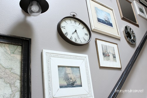 Stairway Gallery Wall {Mixing it Up} - The Inspired Room