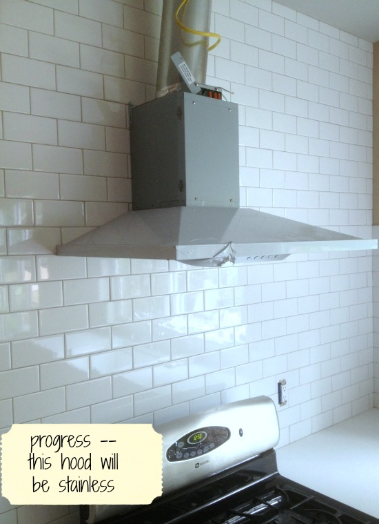 White Subway Tile With Grey Grout In Kitchen