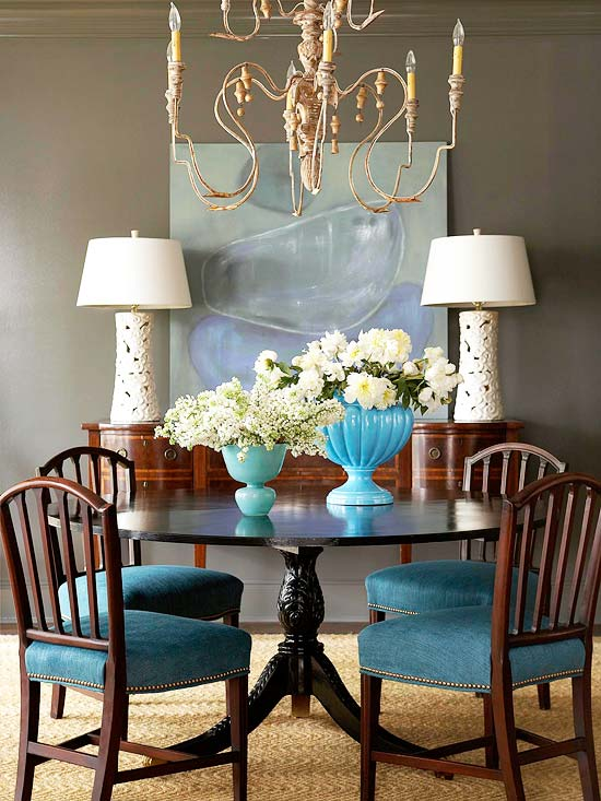 Fall decorating fresh color combinations the inspired room for Teal dining room decorating ideas