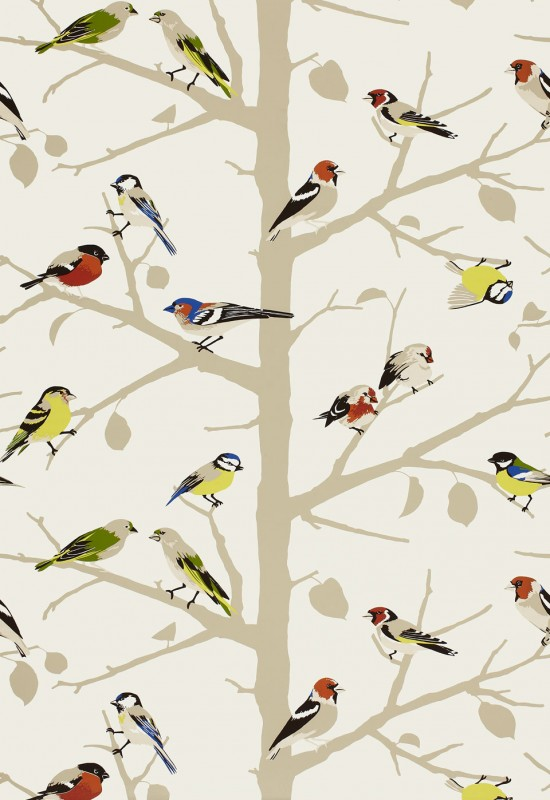 Sarah's House Powder Room {Bird Wallpaper Source}