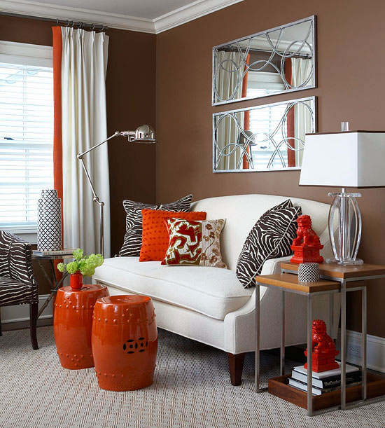 cozy decorating {orange & red} - the inspired room