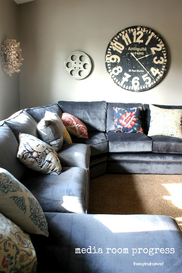 {Fall Nesting} Media Room Update! The New Sectional Has Arrived!