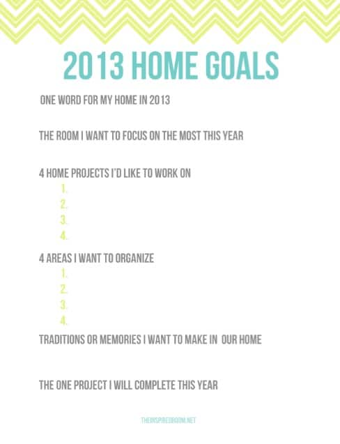 2013: Goals for the Home {Free Printable!}