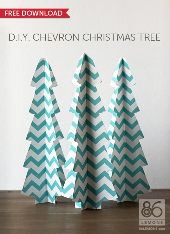 Make Your Own 3D Chevron Christmas Trees with Free Download {86 Lemons}